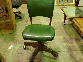 Green Vinyl Office Chair on Wheels