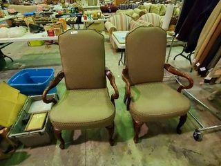 2  Pair High end Upholstered Air Chairs  Very good condition  minor ware on arm rests