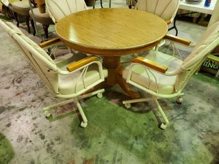 Round Wooden Dining Table with  4  Matching Chairs  very good condition