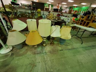 large lot of Assorted Table lamps