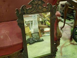 Carved Wood Mirror  l  19  W  34