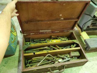 Vintage Wood Box w  Vintage Tools