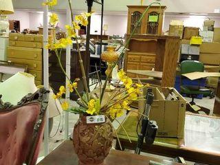 Decorative Wooden Vase w  faux flowers
