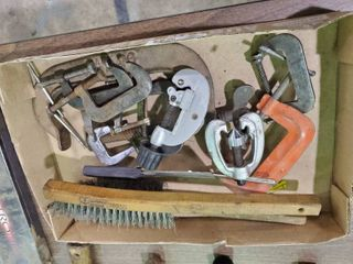 lot of various Clamps Pipe Cutters and Wire Brushes