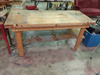 large Butcher Block Topped Table  H  32  l  64  W  27