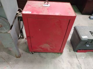 Small Metal Tool Cabinet on Wheels  H  25  l  18  W  11