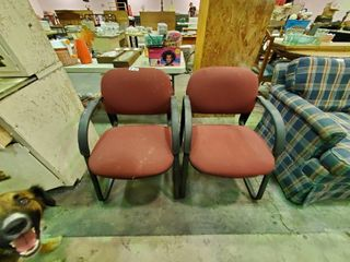 Pair of Maroon Waiting Room Chairs