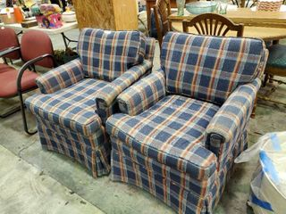 Pair of Plaid Armchairs on Wheels
