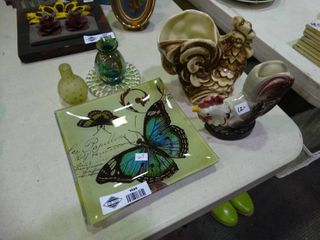 lot of Home Decor  Rooster Pot  Butterfly Plate  Small Vases