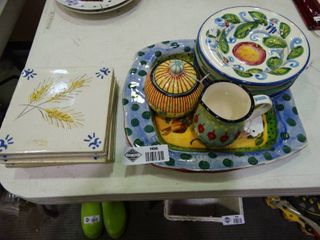 lot of Autumn Themed Dishware and Decor