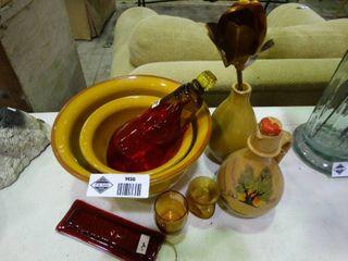 lot of Warm Colored Home Decor  Bowls  Vase  Metal Rose  Etc