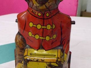J  CHEIN MECHANICAl MONKEY BANK   HAT AND RIGHT ARM MISSING