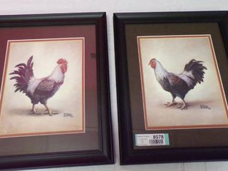 PAIR OF CHICKEN PICTURES