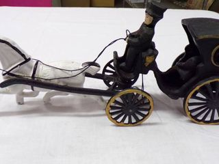 CAST IRON HORSE AND CARRIAGE