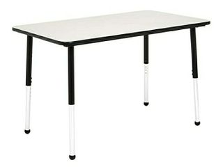 AmazonBasics 30 x 48 Inch Rectangular School Activity Kids Table  Ball Glide legs  Adjustable Height 19 30 Inch  Grey and Black