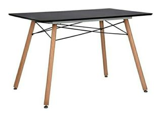 GreenForest Dining Table Rectangular Top with Wooden legs Modern leisure Coffee Table 44  x 30  Black