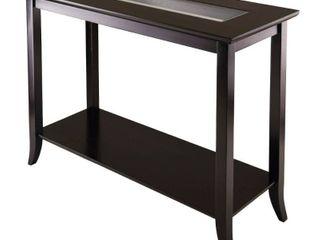 Winsome Wood Genoa Console Glass Top Table  Espresso Finish
