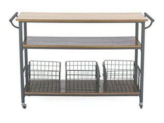 Baxton Studio lancashire Wood and Metal Kitchen Cart  Brown