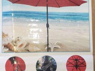 Sunnyglade 11Ft Patio Umbrella Garden Canopy Outdoor Table Market Umbrella with Push Button Tilt Crank  8 Ribs  Red