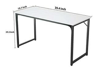 Foxemart 47 Inch Computer Table Sturdy Office Desk  Modern PC laptop 47IAA Writing Study Gaming Desk for Home Office Workstation  White and Black