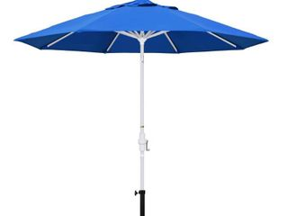 California Umbrella 9  Round Aluminum Market Umbrella  Crank lift  Collar Tilt  White Pole  Royal Blue Olefin