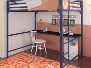 DHP Miles Metal Full loft Bed with Desk  Blue