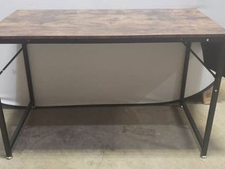 47 5in X 23 5in Dark Wood And Black Metal Desk