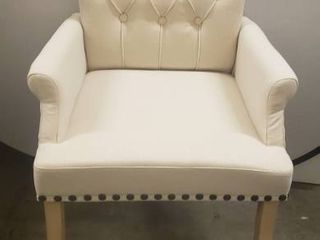 Accent Dining Chair Tufted Fabric Nailheads Trim Solid Wood Set  Beige A