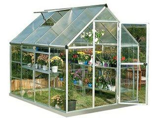 Palram HG5508PH Hybrid Hobby Greenhouse w Plant Hangers  6  x 8  x 7  Silver
