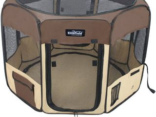 EliteField 2 Door Soft Pet Playpen  Exercise Pen  Multiple Sizes and Colors Available for Dogs  Cats and Other Pets  62  x 62  x 36 H  Navy Blue Beige