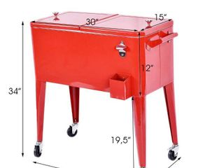 Outdoor Red 80 Quart Cooler Cart w Wheels from PermaSteel