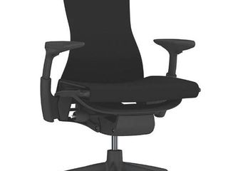 Herman Miller Embody Chair  Black Rhythm Fabric  Graphite Base   Frame with Fully Adj Arms   Translucent Casters