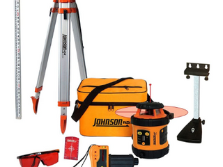 Johnson level   Tool 99 006K Self leveling Rotary laser System Kit  Soft Shell Carrying Case  Alkaline Battery  Tripod  Mounting Bracket  13ft Grade Rod  Protective Glasses