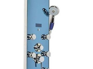 Blue Ocean 51a Stainless Steel Shower Panel with Rainfall Shower Head  8 Adjustable Nozzles  and Spout