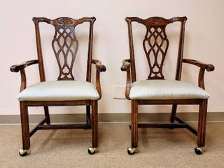 Pair of Matching Solid Wood Chairs on Casters