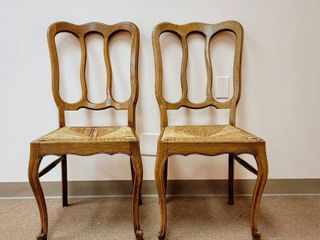 2 Solid Wood Chairs with Woven Seats