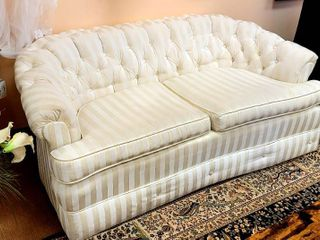 Ivory Stripe Tufted Couch loveseat 63  wide