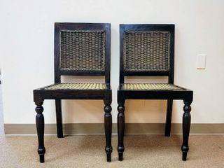 2 Dark Wood and Wicker Chairs