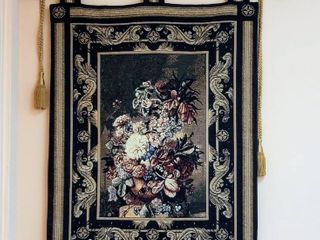 Floral Tapestry with Decorative Rod and Tassels 33 w x 45 t