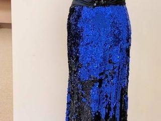 Alyce Desings Paris size 10 Blue Black Sequin Gown   Gorgeous