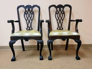 2 Beautiful Carved Wood Chairs   Made in Indonesia