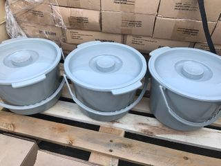 Three plastic buckets with lids as pictures