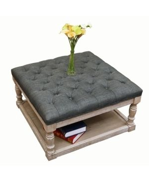 Cairona Fabric 30 inch Tufted Shelved Ottoman  Optional Colors  Retail 317 49