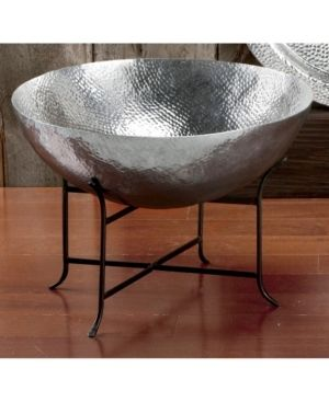Extra large 2 ft Hammered Aluminum Decorative Bowl and Black Metal Stand Retail 139 99