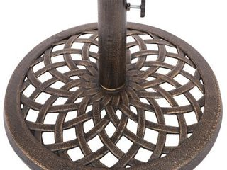 Cast Iron Umbrella Base   17 7 Inch Diameter by Trademark Innovations  Bronze