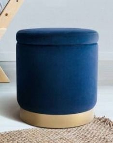 Sawyer Navy Round Ottoman by Archiology