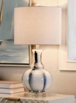 Silver Orchid Homolka Blue and White 1 light Glass Table lamp