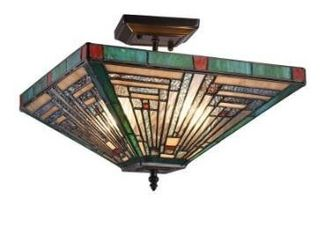 Gracewood Hollow Kamatenda 2 light Mission style Stained Glass Semi flush Mount Retail 108 49