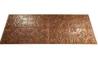 Fasade Traditional Style  2 Copper Fantasy 2 ft  x 4  ft Glue up Ceiling Tile