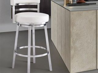 Armen living Madrid Contemporary 26  Counter Height Barstool in Brushed Stainless Steel Finish and White Faux leather Retail 289 99